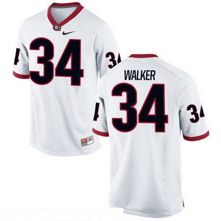 Men's Georgia Bulldogs #34 Herschel Walker White Stitched College Football 2016 Nike NCAA Jersey