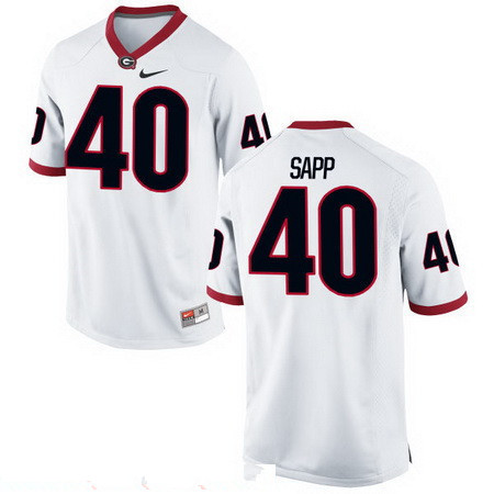 Men's Georgia Bulldogs #40 Theron Sapp White Stitched College Football 2016 Nike NCAA Jersey