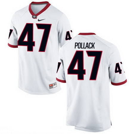 Men's Georgia Bulldogs #47 David Pollack White Stitched College Football 2016 Nike NCAA Jerse