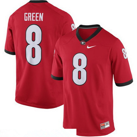 Men's Georgia Bulldogs #8 A. J. Green Red Stitched College Football 2016 Nike NCAA Jersey