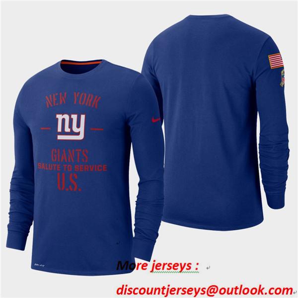 Men's Giants Royal 2019 Salute to Service Sideline Long Sleeve T-Shirt