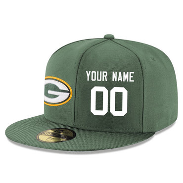 Men's Green Bay Packers Green Color Snapback Custom Hat (Stitched any name&number)