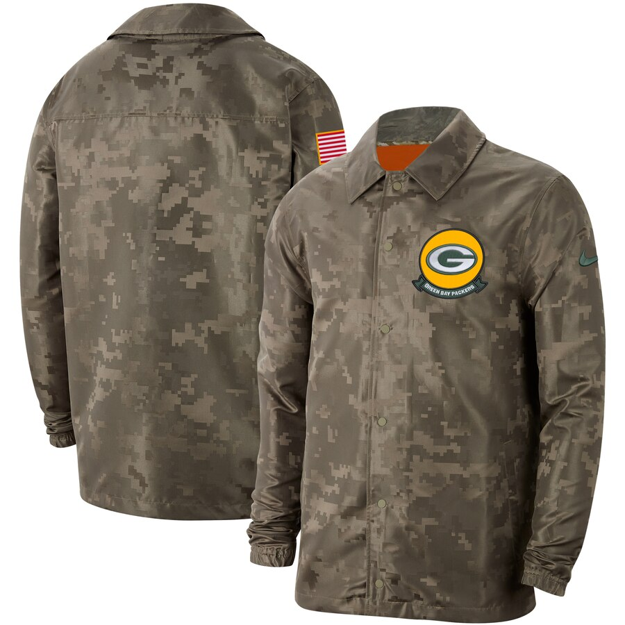 Men's Green Bay Packers Nike Camo 2019 Salute To Service Sideline Full Zip Lightweight Jacket