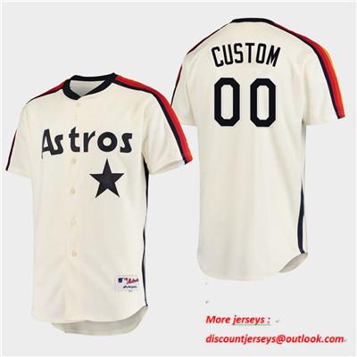 Men's Houston Astros Custom Oilers vs. Astros Cream Cooperstown Collection Jersey
