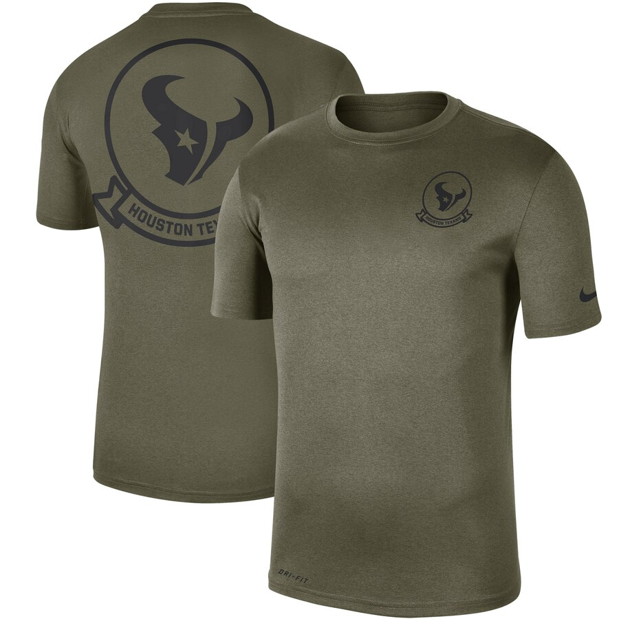 Men's Houston Texans Nike Olive 2019 Salute To Service Sideline Seal Legend Performance T-Shirt