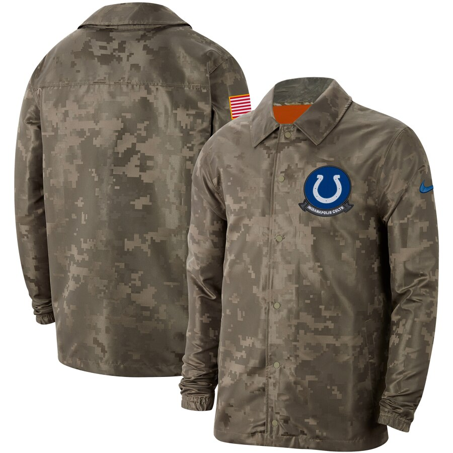 Men's Indianapolis Colts Nike Camo 2019 Salute To Service Sideline Full Zip Lightweight Jacket