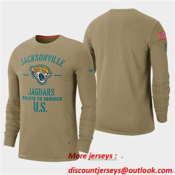 Men's Jaguars Tan 2019 Salute to Service Sideline Long Sleeve T-Shirt