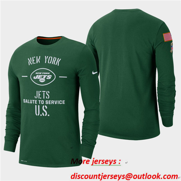 Men's Jets Green 2019 Salute to Service Sideline Long Sleeve T-Shirt