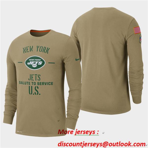 Men's Jets Tan 2019 Salute to Service Sideline Long Sleeve T-Shirt