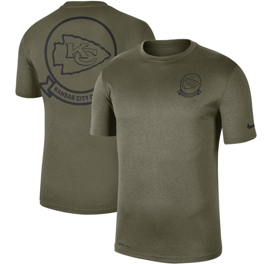 Men's Kansas City Chiefs Nike Olive 2019 Salute To Service Sideline Seal Legend Performance T-Shirt