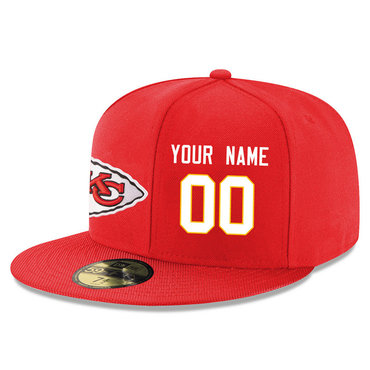 Men's Kansas City Chiefs Red Color Snapback Custom Hat (Stitched any nameνmber)