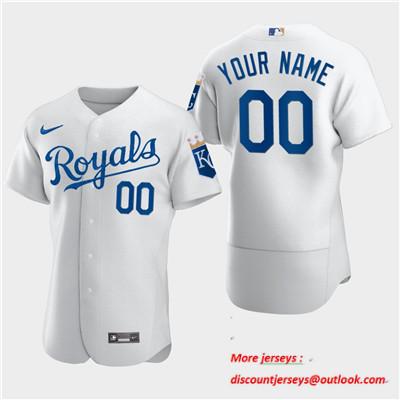 Men's Kansas City Royals Custom Nike White Flexbase Jersey