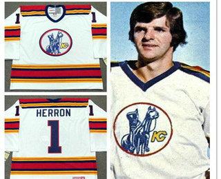 Men's Kansas City Scouts #1 Denis Herron White Vintage 1975 Stitched Hockey Throwback Jersey S-3XL