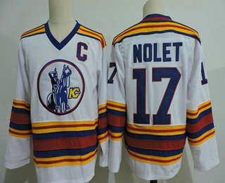 Men's Kansas City Scouts #17 Simon Nolet White Vintage 1975 Stitched Hockey Throwback Jersey S-3XL