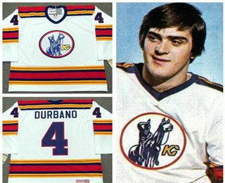 Men's Kansas City Scouts #4 Steve Durbano White Vintage 1975 Stitched Hockey Throwback Jersey S-3XL