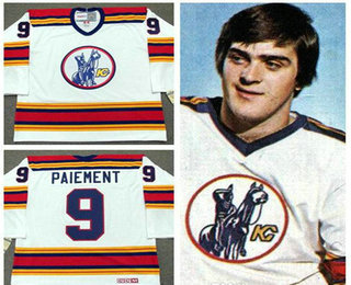 Men's Kansas City Scouts #9 Wilf Paiement White Vintage 1975 Stitched Hockey Throwback Jersey S-3XL
