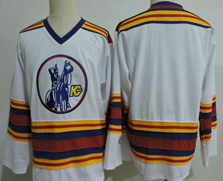 Men's Kansas City Scouts Blank White Vintage 1975 Stitched Hockey Throwback Jersey S-3XL