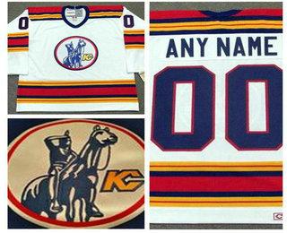 Men's Kansas City Scouts White Vintage 1975 Stitched Hockey Throwback Custom Jersey S-3XL