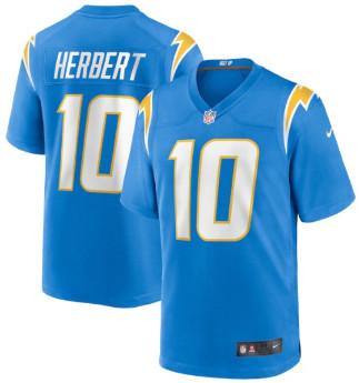 Men's Los Angeles Chargers #10 Justin Herbert Powder Blue 2020 NFL Draft Jersey
