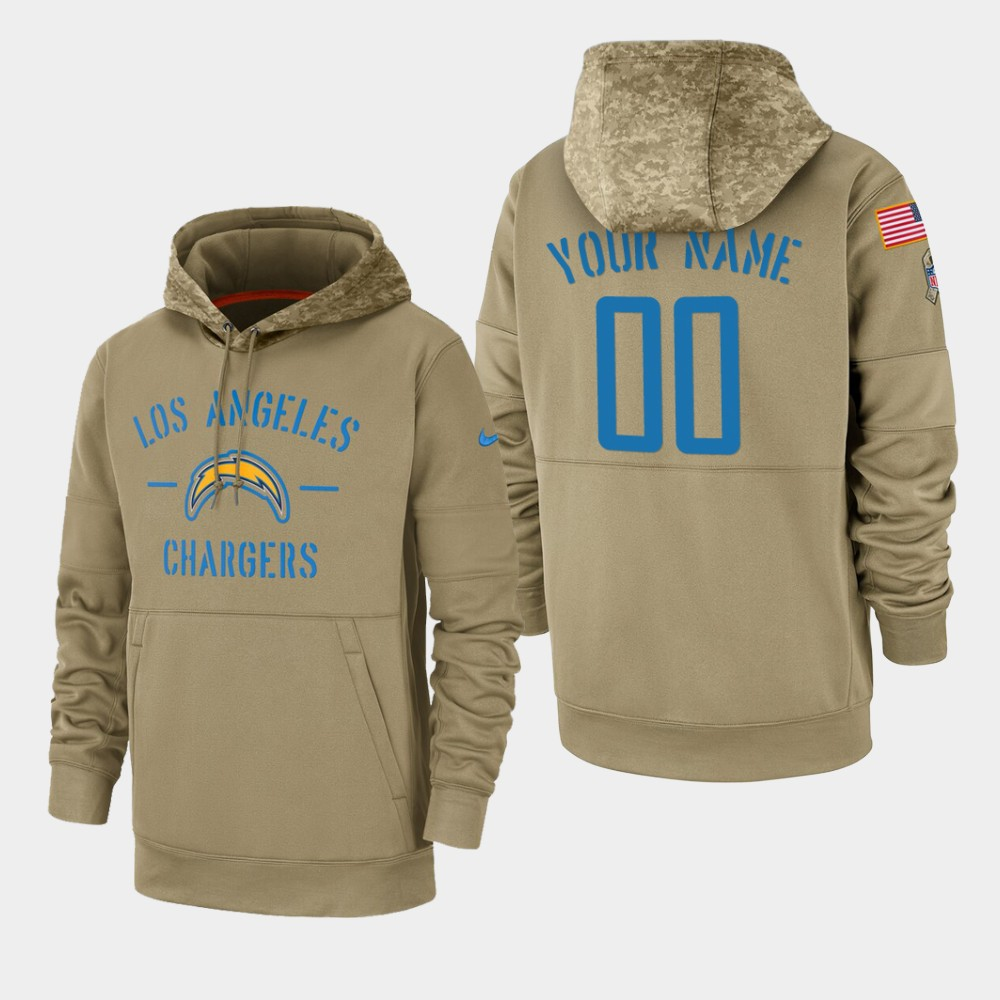 Men's Los Angeles Chargers Custom 2019 Salute to Service Sideline Therma Pullover Hoodie - Tan