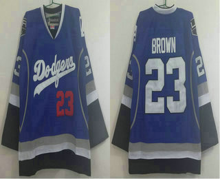 Men's Los Angeles Dodgers #23 and Los Angeles Kings #23 Dustin Brown Blue Stitched NHL Reebok Hockey Jersey
