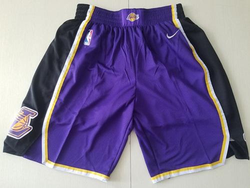 Men's Los Angeles Lakers Nike Purple Black Swingman Performance Shorts