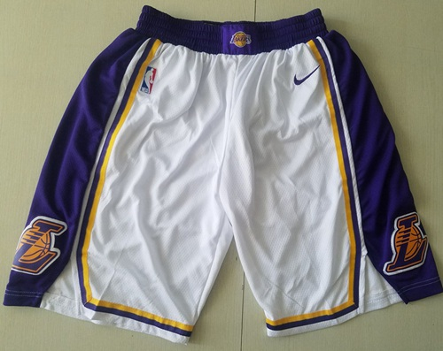 Men's Los Angeles Lakers Nike White Association Edition Swingman Performance Shorts