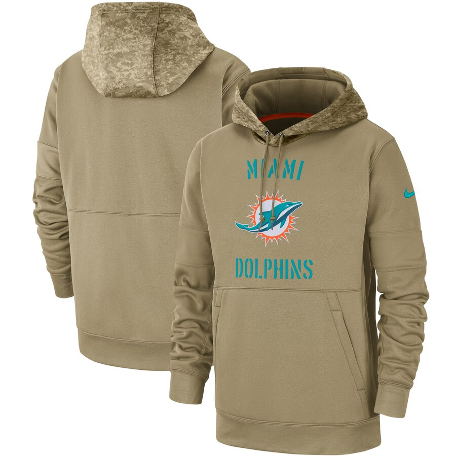 Men's Miami Dolphins 2019 Salute To Service Sideline Therma Pullover Hoodie