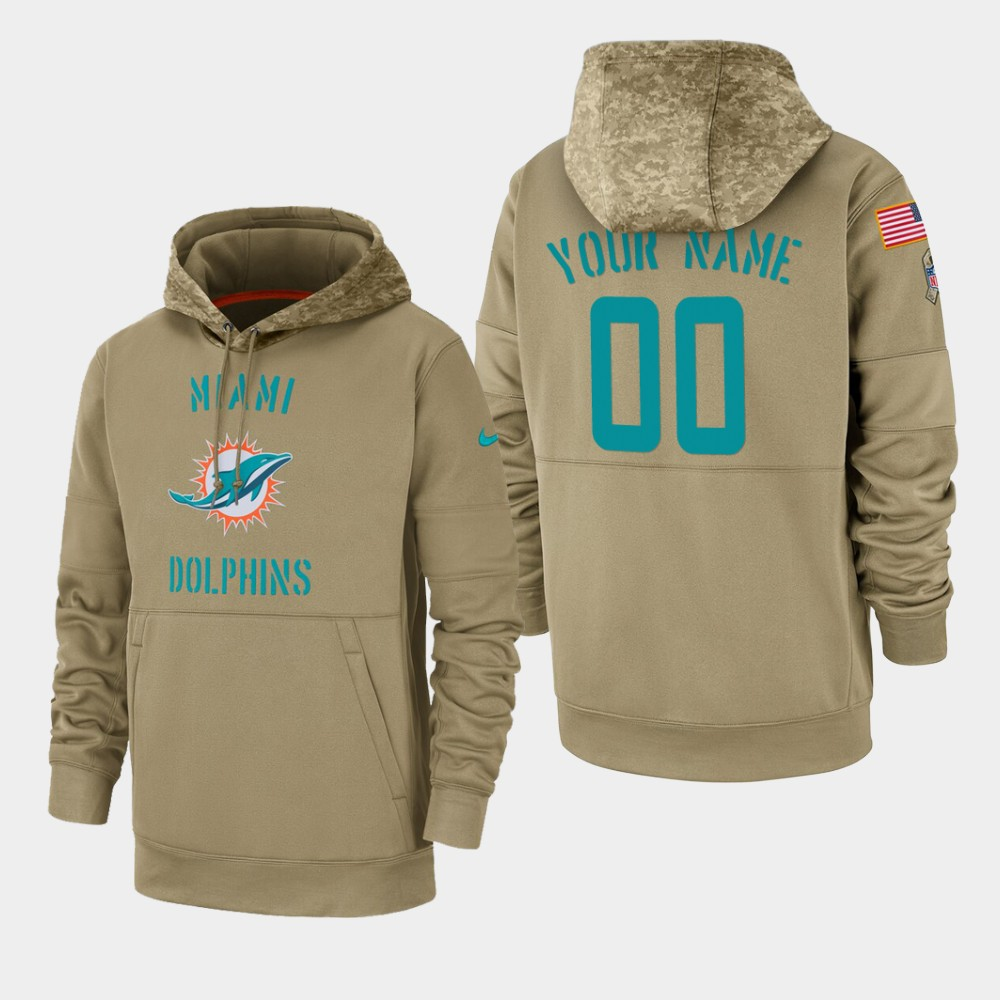 Men's Miami Dolphins Custom 2019 Salute to Service Sideline Therma Pullover Hoodie - Tan