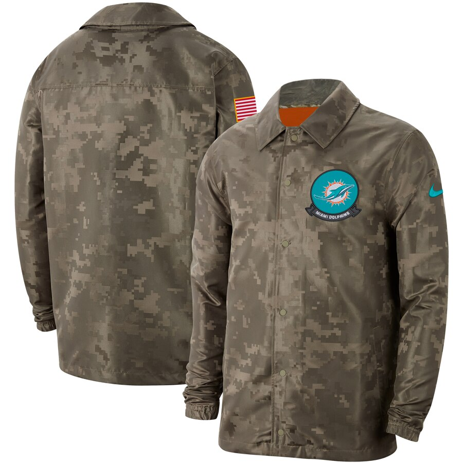 Men's Miami Dolphins Nike Camo 2019 Salute To Service Sideline Full Zip Lightweight Jacket