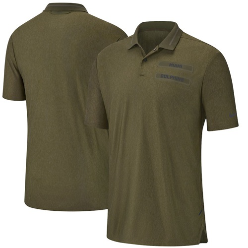 Men's Miami Dolphins Salute to Service Sideline Polo Olive