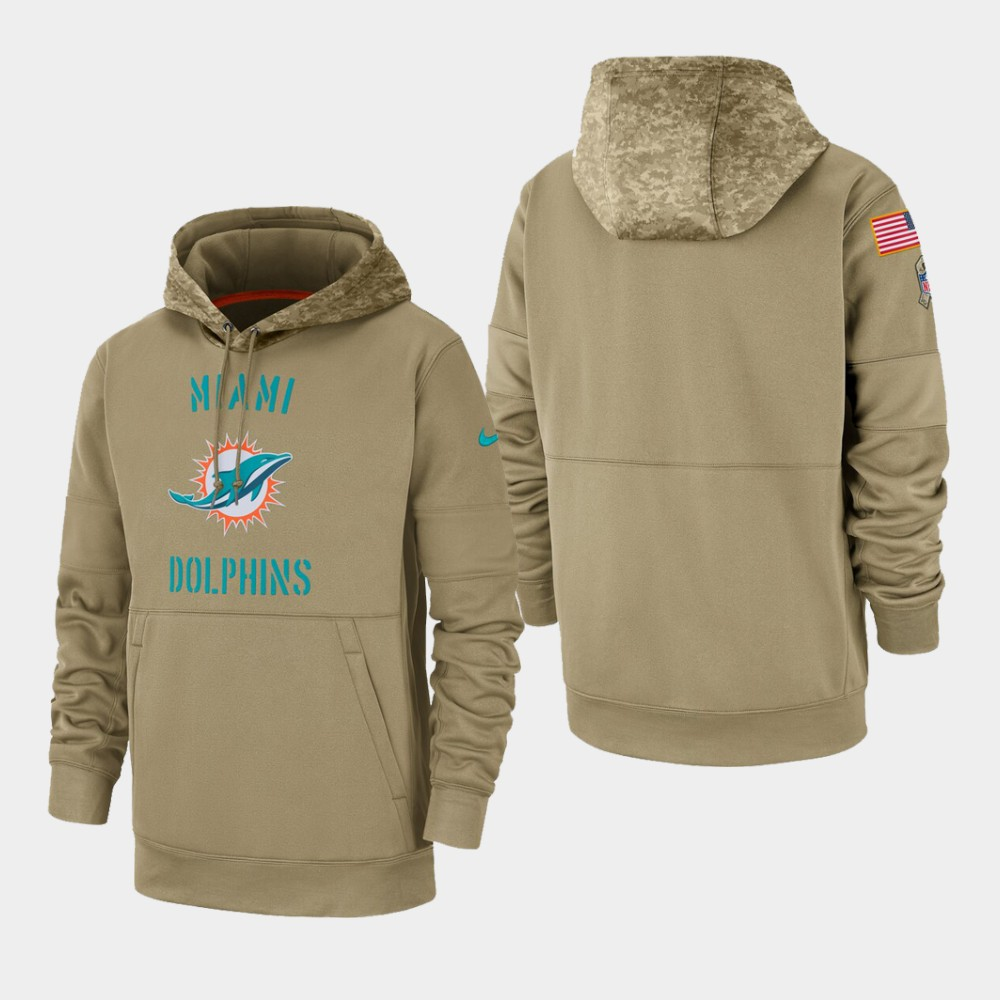 Men's Miami Dolphins Tan 2019 Salute to Service Sideline Therma Pullover Hoodie