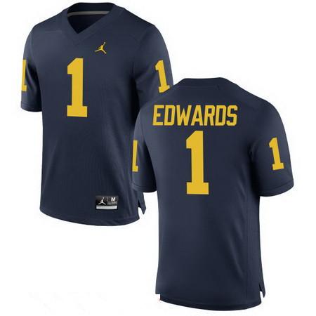 Men's Michigan Wolverines #1 Braylon Edwards Retired Navy Blue Stitched College Football Brand Jordan NCAA Jersey