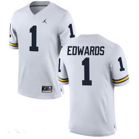 Men's Michigan Wolverines #1 Braylon Edwards Retired White Stitched College Football Brand Jordan NCAA Jersey