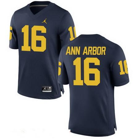 Men's Michigan Wolverines #16 Ann Arbor Navy Blue Navy Blue Stitched College Football Brand Jordan NCAA Jersey