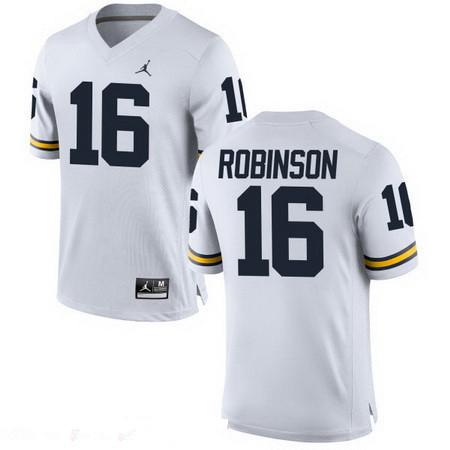 Men's Michigan Wolverines #16 Denard Robinson Retired White Stitched College Football Brand Jordan NCAA Jersey