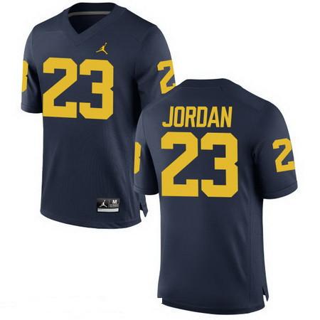 Men's Michigan Wolverines #23 Michael Jordan Navy Blue Stitched College Football Brand Jordan NCAA Jersey