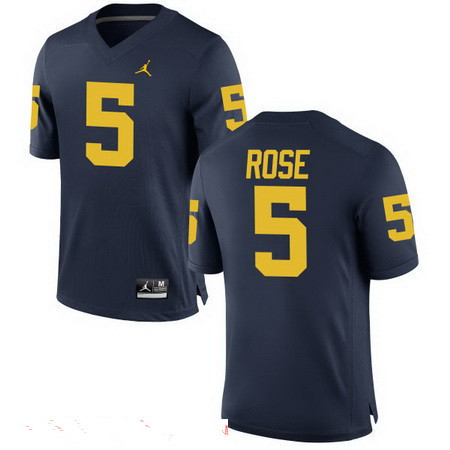 Men's Michigan Wolverines #5 Jalen Rose Retired Navy Blue Stitched College Football Brand Jordan NCAA Jersey