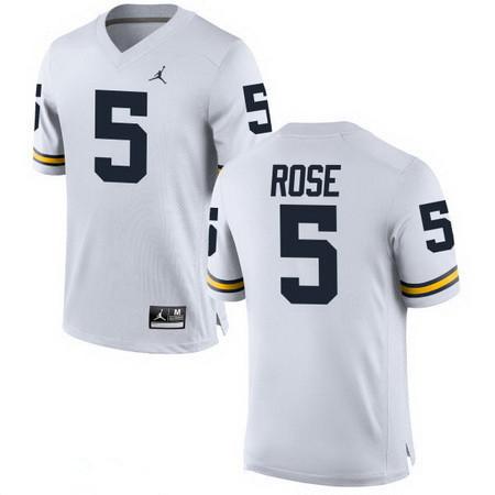 Men's Michigan Wolverines #5 Jalen Rose Retired White Stitched College Football Brand Jordan NCAA Jersey