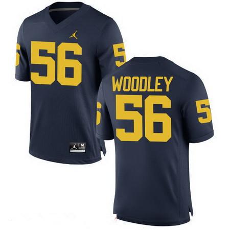 Men's Michigan Wolverines #56 LaMarr Woodley Navy Blue Stitched College Football Brand Jordan NCAA Jersey