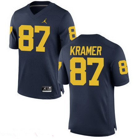 Men's Michigan Wolverines #87 Ron Kramer Retired Navy Blue Stitched College Football Brand Jordan NCAA Jersey