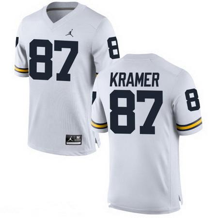 Men's Michigan Wolverines #87 Ron Kramer Retired White Stitched College Football Brand Jordan NCAA Jersey