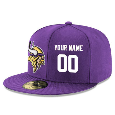 Men's Minnesota Vikings Purple Color Snapback Custom Hat (Stitched any name&number)