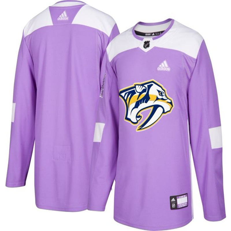 Men's Nashville Predators Purple Adidas Hockey Fights Cancer Custom Practice Jersey