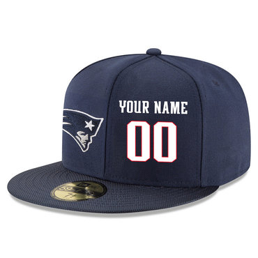 Men's New England Patriots Navy Color Snapback Custom Hat (Stitched any name&number)