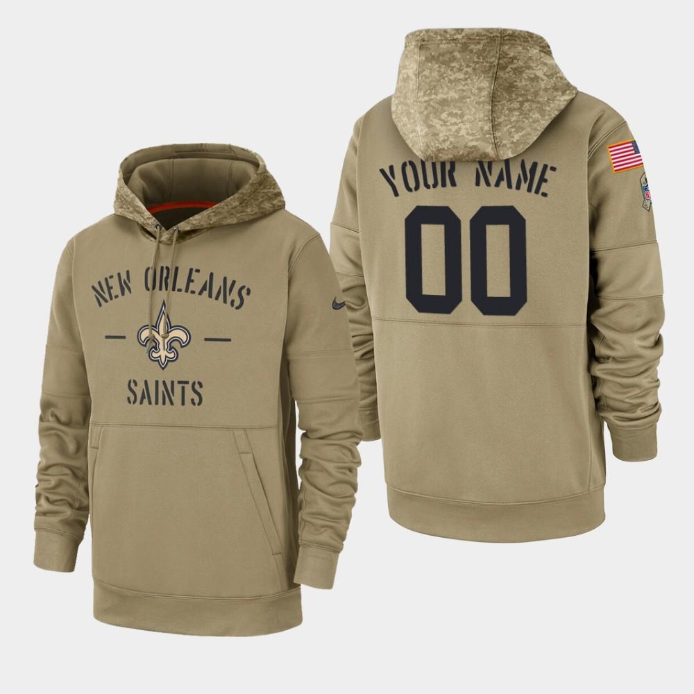 Men's New Orleans Saints #00 Custom 2019 Salute to Service Sideline Therma Hoodie - Tan