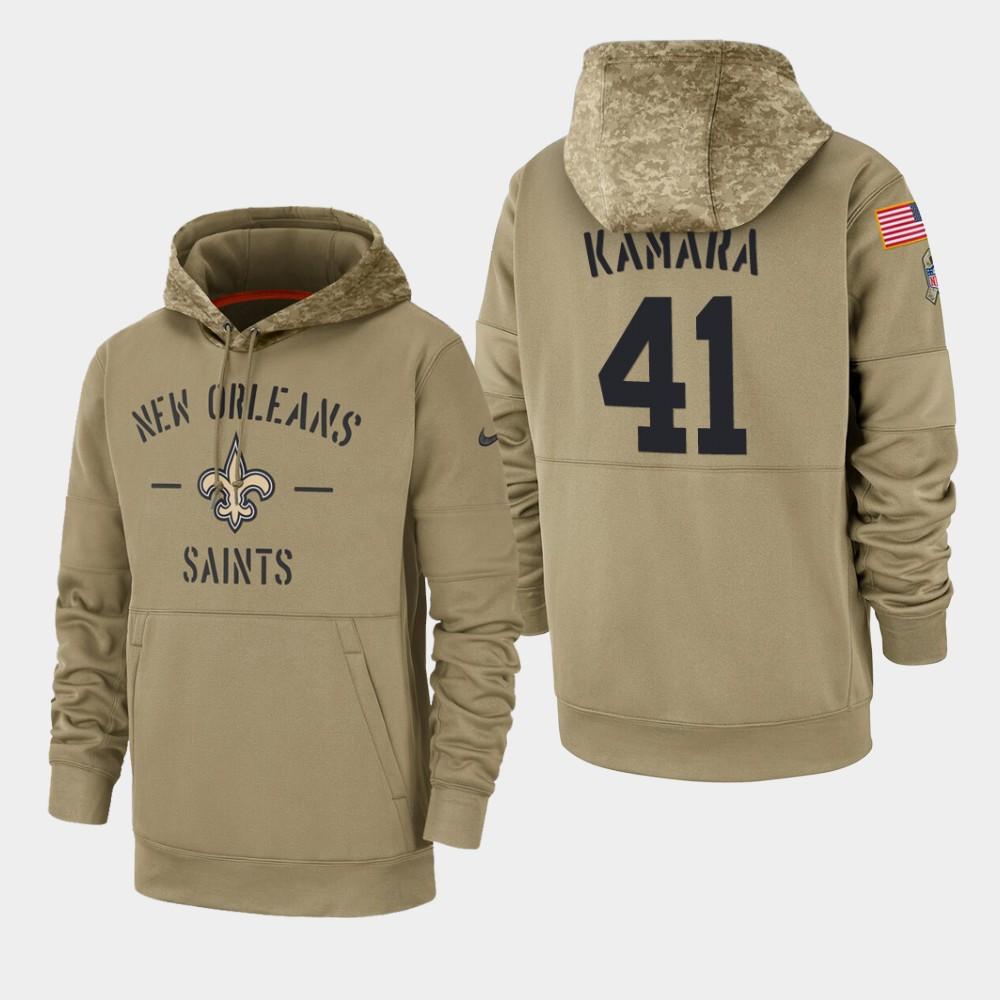 Men's New Orleans Saints #41 Alvin Kamara 2019 Salute to Service Sideline Therma Hoodie - Tan