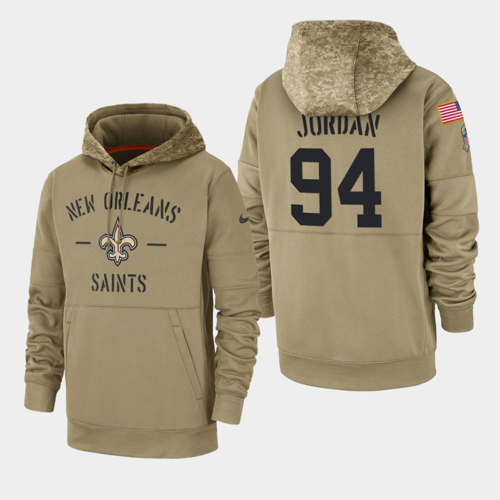 Men's New Orleans Saints #94 Cameron Jordan 2019 Salute to Service Sideline Therma Hoodie - Tan