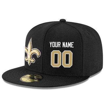 Men's New Orleans Saints Black Color Snapback Custom Hat (Stitched any name&number)