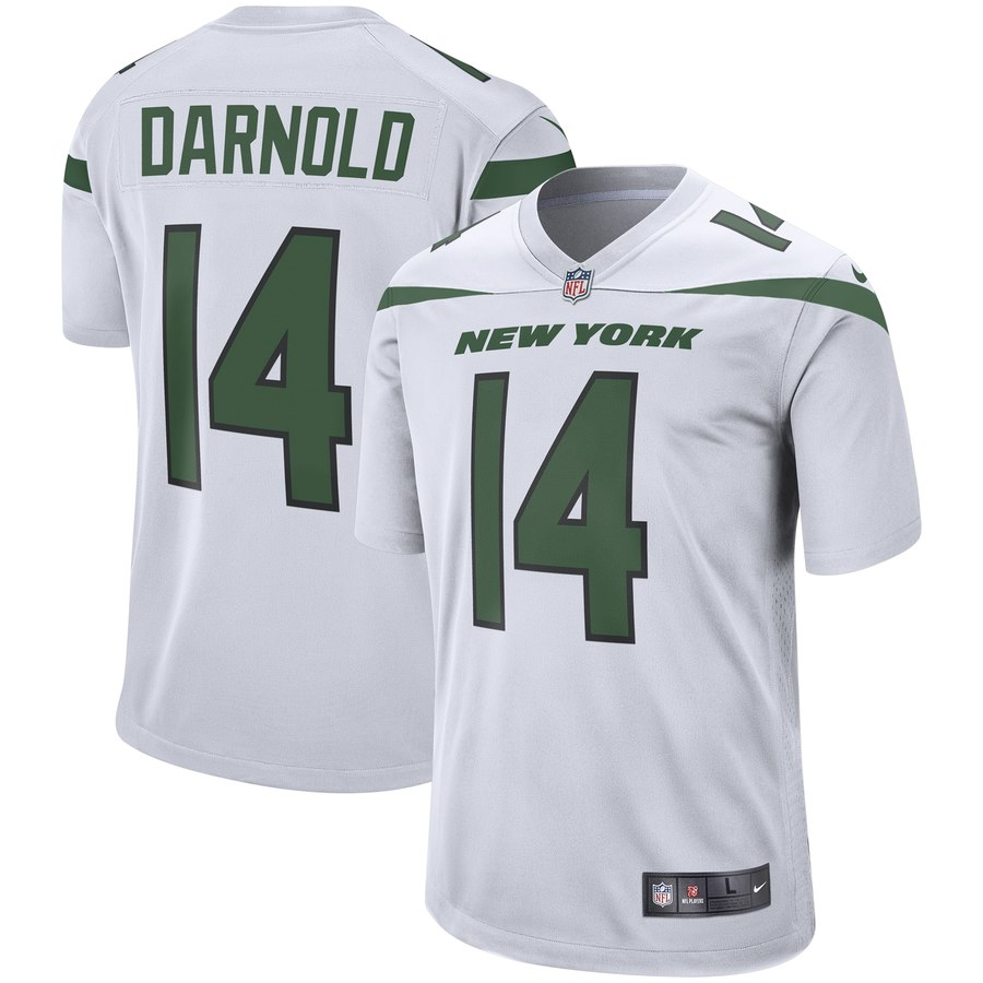 Men's New York Jets #14 Sam Darnold  White Player Game Jersey